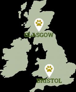 Glasgow and Bristol location map